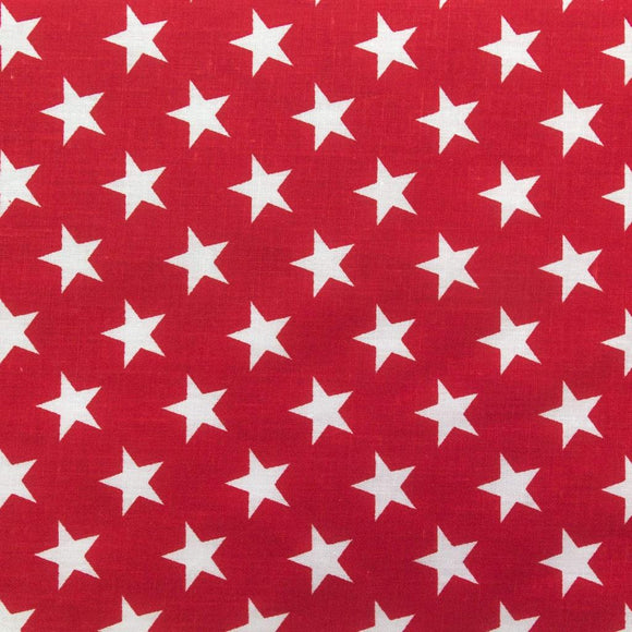 Red Patriotic Star Print Poly Cotton Fabric - Fashion Fabrics Los Angeles