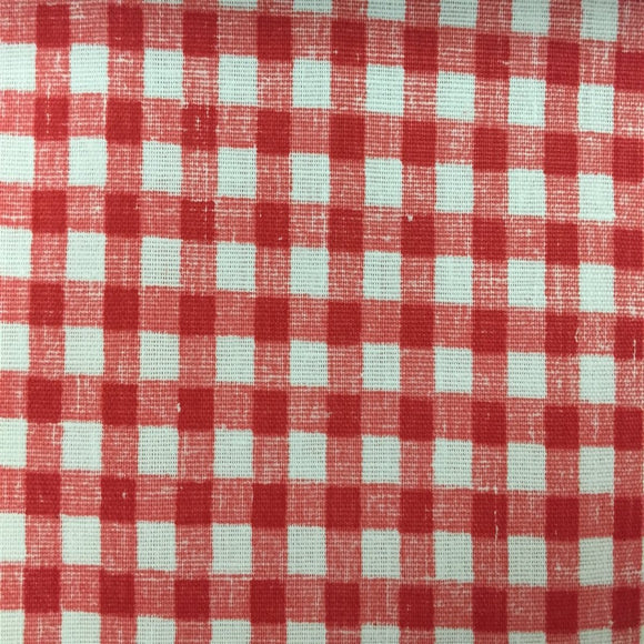 Red White Mini Checkered Poly Cotton Fabric