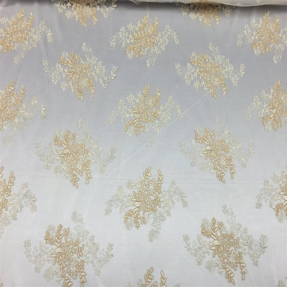 Champagne White Oswald Embroidered Lace Fabric - Fashion Fabrics Los Angeles