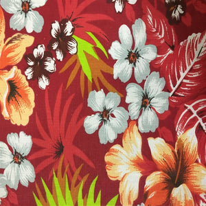 Red Hawaiian Print Poly Cotton Fabric