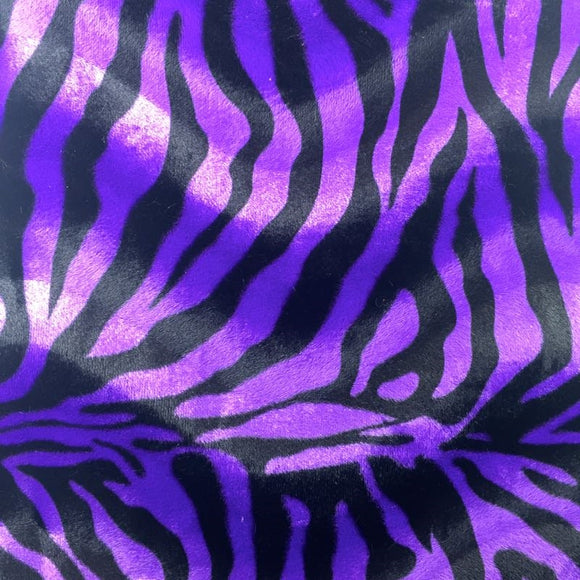 Purple Big Zebra Velboa Faux Fur Fabric