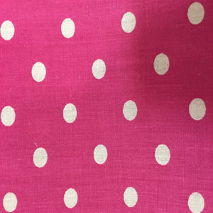Pink White Small Polka Dot Print Poly Cotton Fabric - Fashion Fabrics Los Angeles