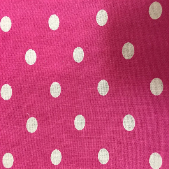 Pink White Small Polka Dot Print Poly Cotton Fabric