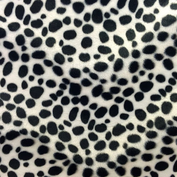 White Velboa Faux Fur Dalmatian Fabric - Fashion Fabrics Los Angeles