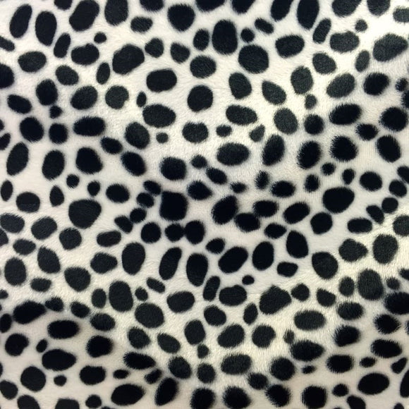 White Velboa Faux Fur Dalmatian Fabric