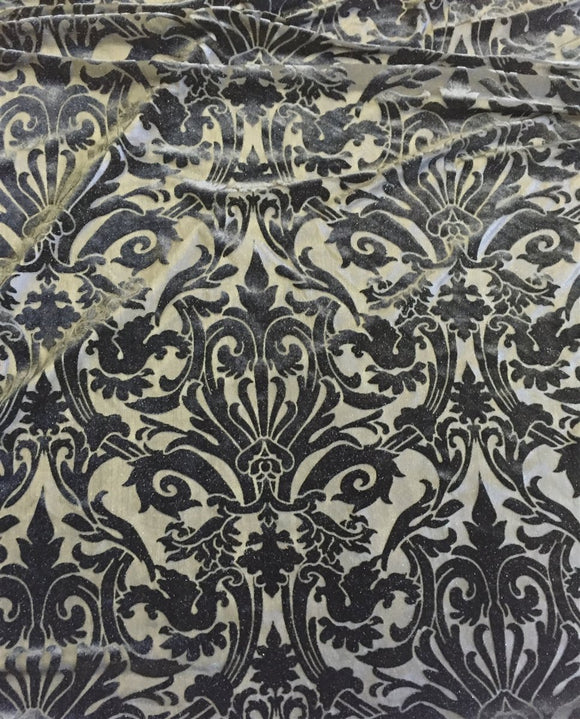 Black Damask Burnout 4 Way Stretch Fabric - Fashion Fabrics Los Angeles