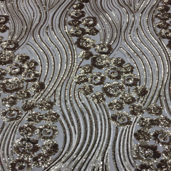 Gold Jennifer Rose Floral Flame Sequin Lace Fabric - Fashion Fabrics Los Angeles