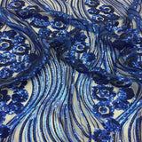 Royal Blue Jennifer Rose Floral Flame Sequin Lace Fabric