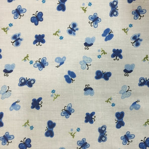 Blue Butterfly Poly Cotton Print Fabric