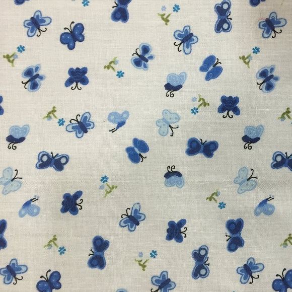 Blue Butterfly Poly Cotton Print Fabric - Fashion Fabrics Los Angeles