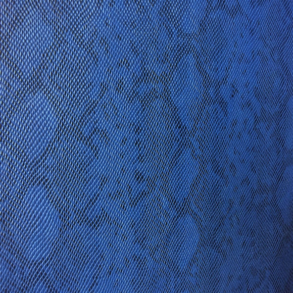 Blue Matte Python Snake Skin Vinyl Fabric - Fashion Fabrics Los Angeles