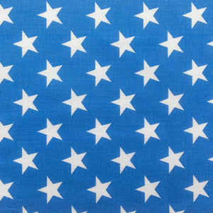 Blue Patriotic Star Print Poly Cotton Fabric