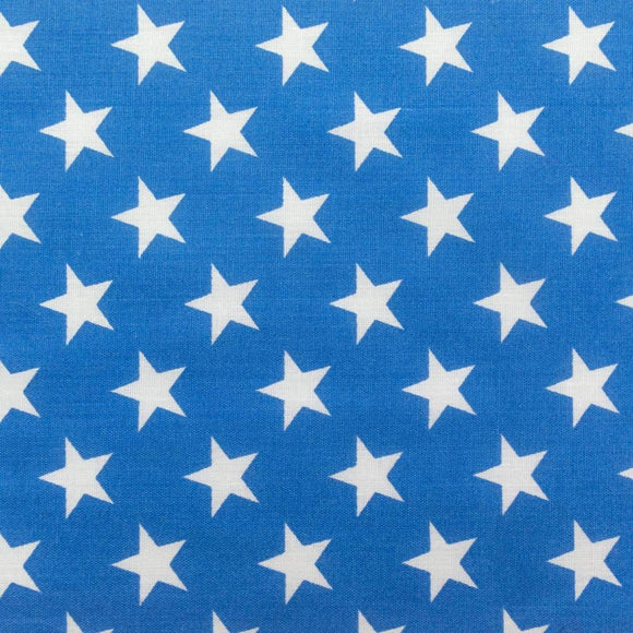 Blue Patriotic Star Print Poly Cotton Fabric - Fashion Fabrics Los Angeles