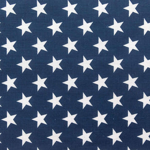Navy Patriotic Star Print Poly Cotton Fabric - Fashion Fabrics Los Angeles