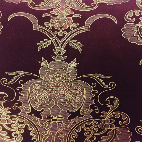 Burgundy Gold Jacquard Flocking Velvet Drapery Upholstery Fabric - Fashion Fabrics Los Angeles