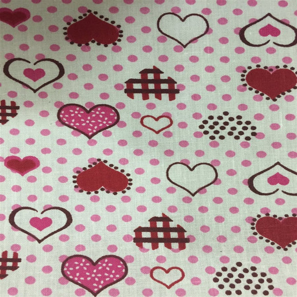 Pink Red Dotted Hearts Print Poly Cotton Fabric
