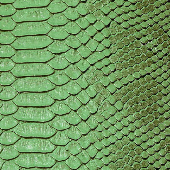 Green Faux Viper Sopythana Snake Skin Vinyl Fabric - Fashion Fabrics Los Angeles