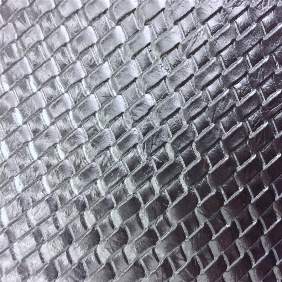 Silver Basket Weave Vinyl - Fashion Fabrics Los Angeles