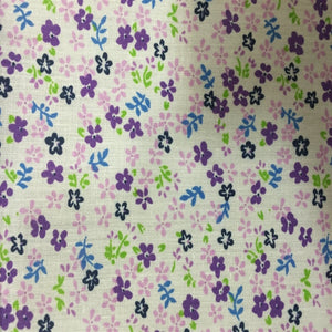 Purple Small Floral Print Poly Cotton Fabric - Fashion Fabrics Los Angeles