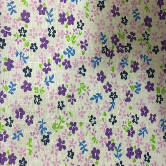 Purple Small Floral Print Poly Cotton Fabric