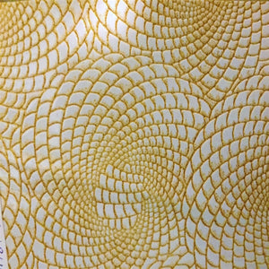 Gold / White 2 - Tone Galaxy Swirl Vinyl Fabric