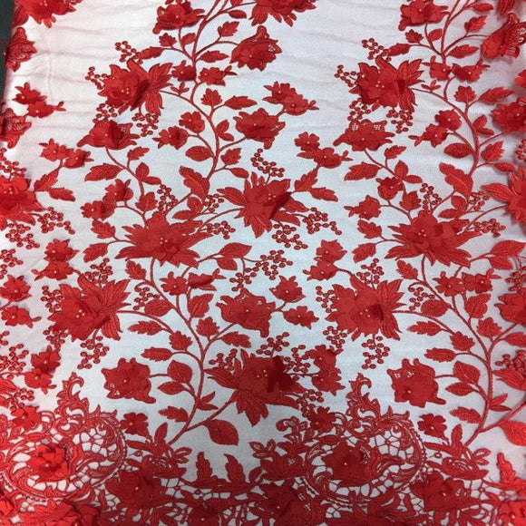 Red 3D Embroidered Satin Floral Pearl Lace Fabric - Fashion Fabrics Los Angeles