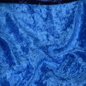 Royal Blue Panne Crush Stretch Velvet Fabric
