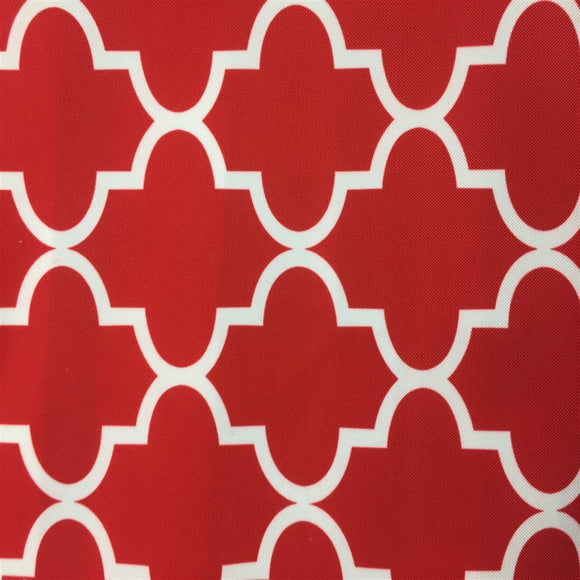 Red White Moroccan Print Indoor Outdoor Fabric