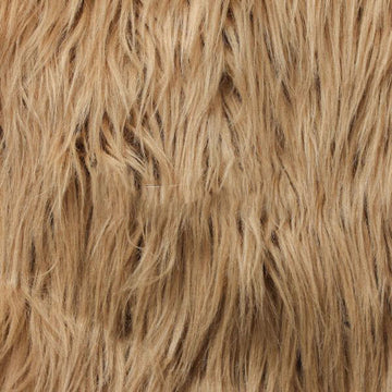 Camel Brown Luxury Long Pile Shaggy Faux Fur Fabric - Fashion Fabrics Los Angeles