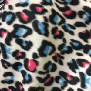 Blue Red Black Leopard Print Fleece Fabric - Fashion Fabrics Los Angeles