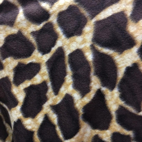 Brown Gold Giraffe Print Fleece Fabric - Fashion Fabrics Los Angeles