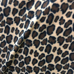 Brown Ivory Black Leopard Print Fleece Fabric - Fashion Fabrics Los Angeles