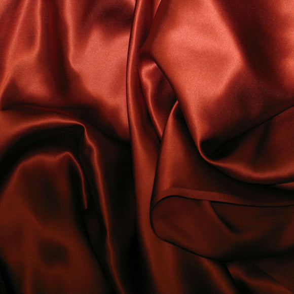 Cognac Red Silk Charmeuse Fabric - Fashion Fabrics Los Angeles