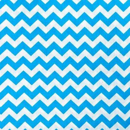 Aqua Blue White Half Inch Chevron Poly Cotton Fabric - Fashion Fabrics Los Angeles