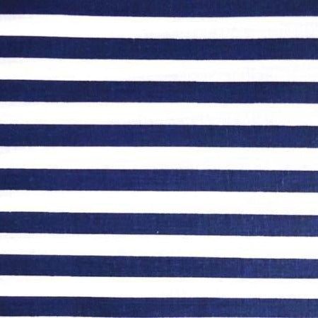 Navy White One Inch Stripe Poly Cotton Fabric - Fashion Fabrics Los Angeles