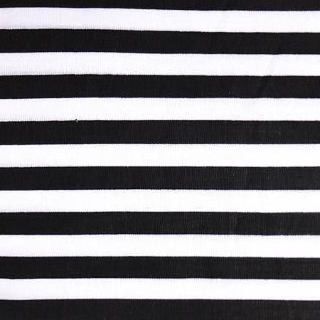 Black White Half Inch Stripe Poly Cotton Fabric - Fashion Fabrics Los Angeles