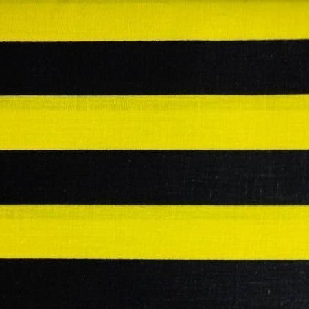 Black Yellow One Inch Stripe Poly Cotton Fabric - Fashion Fabrics Los Angeles