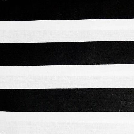 Black White One Inch Stripe Poly Cotton Fabric - Fashion Fabrics Los Angeles