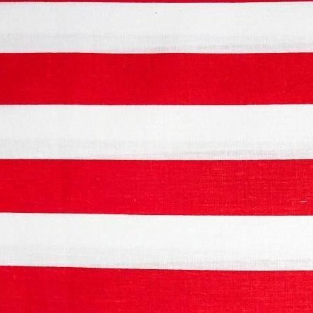 Red White One Inch Stripe Poly Cotton Fabric - Fashion Fabrics Los Angeles