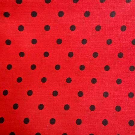 Red Black Small Polka Dot Print Poly Cotton Fabric - Fashion Fabrics Los Angeles