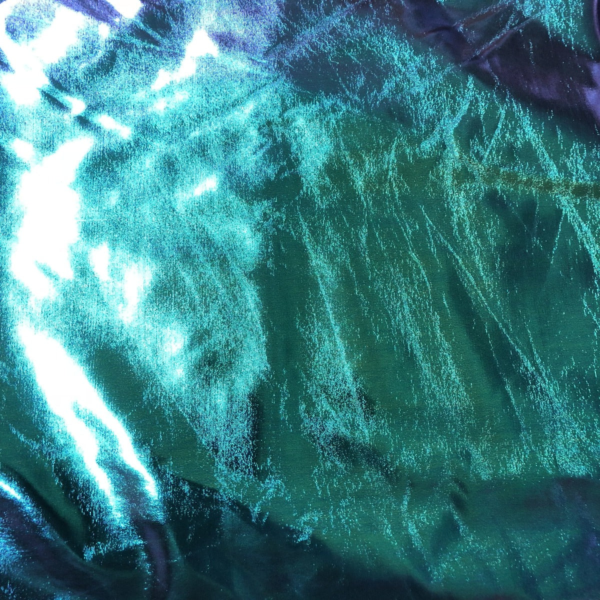 Blue | Green Metallic Iridescent Foil Spandex Fabric - Fashion Fabrics Los Angeles
