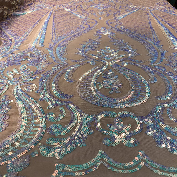 Pearl White Iridescent Chantal Deluxe Sequin Fabric - Fashion Fabrics Los Angeles