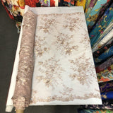 Gold Rouley 3D Pearl Floral Embroidered Lace Fabric - Fashion Fabrics Los Angeles