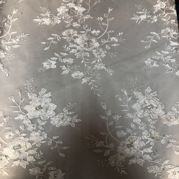 White Rouley 3D Pearl Floral Embroidered Lace Fabric - Fashion Fabrics Los Angeles