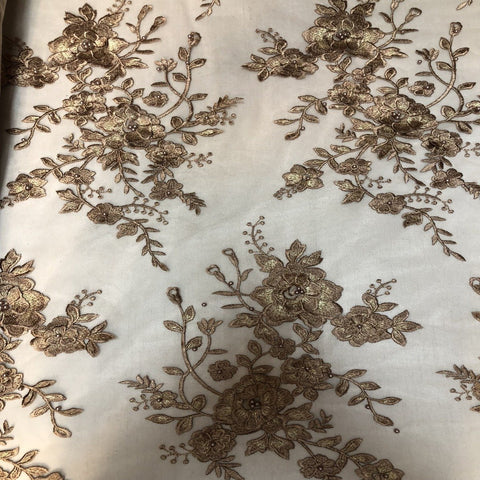 Bronze | Gold Rouley 3D Pearl Floral Embroidered Lace Fabric