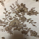 Bronze | Gold Rouley 3D Pearl Floral Embroidered Lace Fabric - Fashion Fabrics Los Angeles