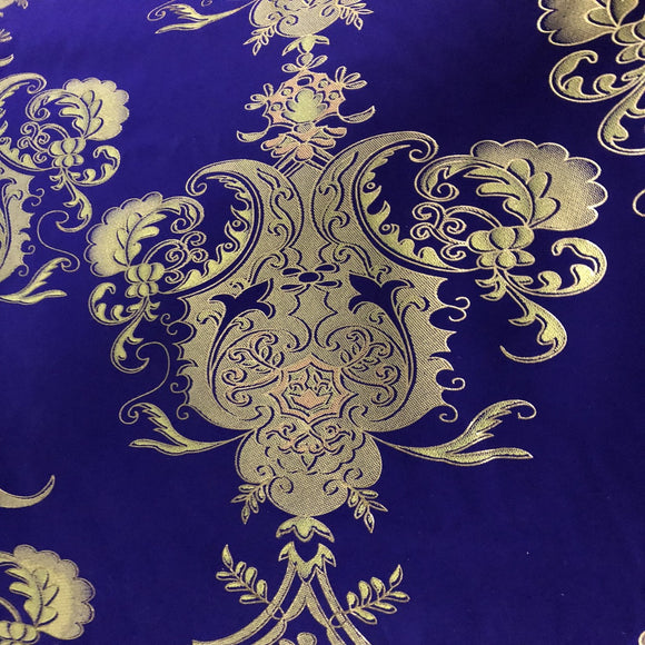 Purple Gold Jacquard Flocking Velvet Drapery Upholstery Fabric
