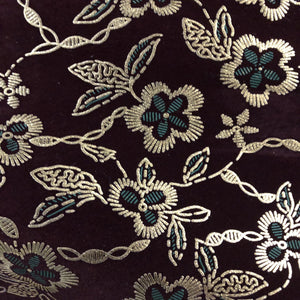Burgundy Gold Floral Flocking Velvet Drapery Upholstery Fabric - Fashion Fabrics Los Angeles
