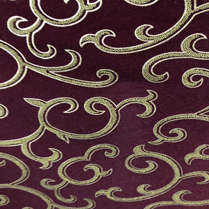Burgundy Gold Chain Link Flocking Velvet Drapery Upholstery Fabric - Fashion Fabrics Los Angeles