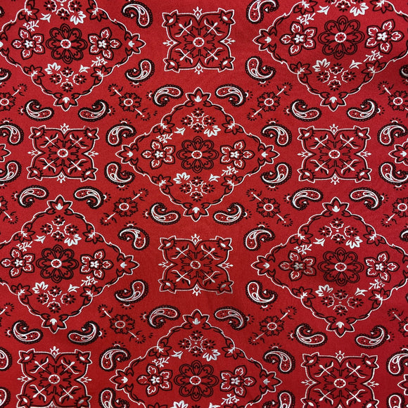 Red Bandanna Paisley Spandex Fabric - Fashion Fabrics Los Angeles